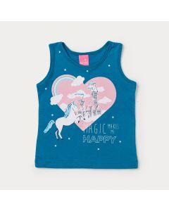 Blusa Infantil Feminina Azul Estampada com Glitter