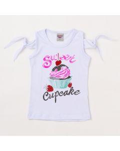 Blusa Infantil Feminina Branca Cupcake