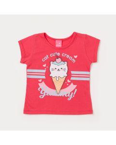 Blusa Infantil Feminina Pink com Estampa de Sorvete