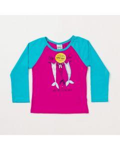 Blusa Infantil Feminina Pink com Verde e Proteção UV