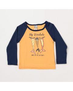 Blusa Infantil Feminina Salmão com Marinho e Proteção UV