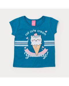 Blusa Infantil Menina Azul com Estampa de Sorvete