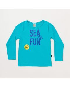 Blusa Infantil Unissex Azul Estampada com Proteção UV