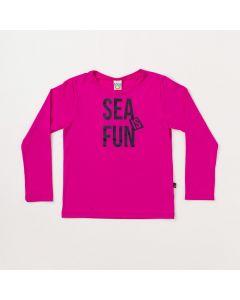 Blusa Infantil Unissex Pink Estampada com Proteção UV