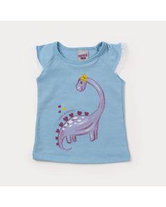 Blusa para Bebê Feminina Azul Claro com Estampa de Dinossauro