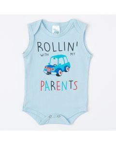 Body Regata Azul para Bebê Menino com Estampa de Carro