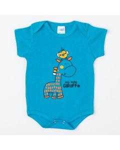 Body Azul Unissex para Bebê com Estampa de Girafinha