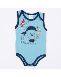 Body Azul com Estampa de Urso para Bebê Menino