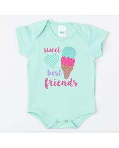 Body de Verão para Bebê Menina Verde com Estampa de Sorvete