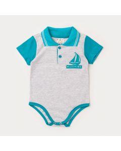 Body Gola Polo para Bebê Menino Barco Verde com Cinza