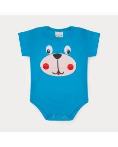 Body para Bebê Menino Azul com Estampa de Cachorro