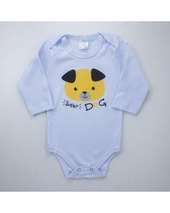 Body Cachorrinho Branco Manga Longa para Bebê Menino