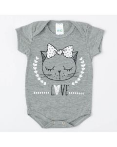 Body Cinza Gatinho de Verão para Bebê Menina