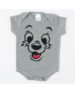 Body Unissex para Bebê Cinza com Estampa de Cachorrinho