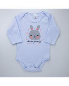 Body Branco Manga Longa para Bebê Menina Coelhinho