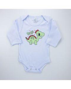 Body Dinossauro Manga Longa Branco para Bebê Menino