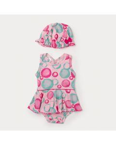 Body Saia Bebê Menina Rosa com Estampa de Bolinha e Chapéu