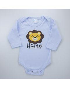 Body Leãozinho Branco Manga Longa para Bebê Menino