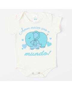 Body Unissex Marfim Elefantinho para Bebê