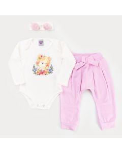 Conjunto Infantil para Menina Body Marfim Urso com Faixa de Cabelo e Calça Rosa