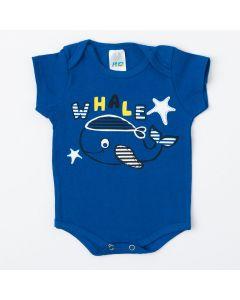 Body Marinho para Bebê Menino Baleia de Verão