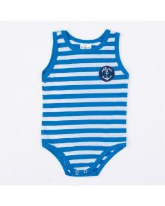 Body Regata Listrado Marinho para Bebê Menino