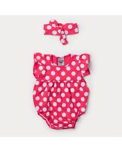 Body Pink para Bebê Menina com Bolinha Branca e Faixa de Cabelo
