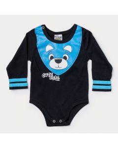 Body Manga Longa Bebê Menino Preto com Estampa de Urso