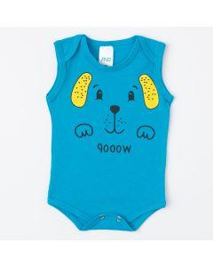 Body Regata Azul com Estampa de Cachorrinho para Bebê Menino