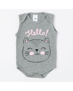 Body Regata Cinza para Bebê Menina Estampado de Gatinho