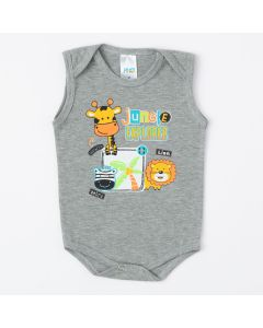Body Regata Cinza com Estampa de Girafinha para Bebê Menino