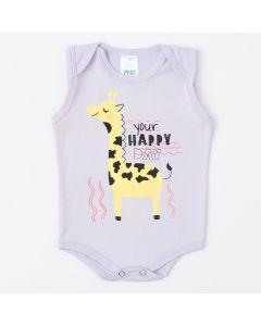 Body Regata Unissex Lilas para Bebê com Estampa de Girafinha
