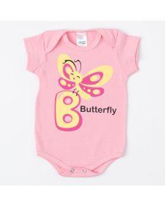 Body Rosa de Verão para Bebê Menina com Estampa de Borboleta