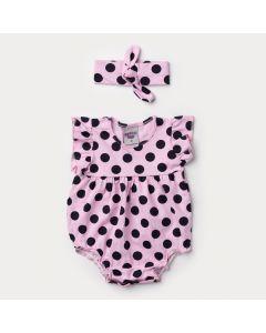 Body Rosa para Bebê Menina com Bolinha Preta e Faixa de Cabelo