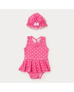 Body Vestido Bebê Menina Rosa com Bolinhas Brancas e Chapéu