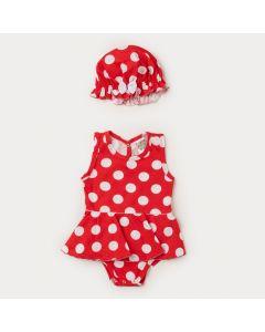 Body Vestido Bebê Menina Vermelho com Bolinhas Brancas e Chapéu