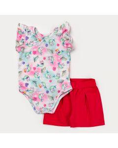 Conjunto de Verão Body Verde Sereia e Short Pink para Menina