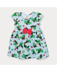 Body Vestido Bebê Verde Claro Estampado com Lacinho Rosa