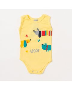 Body Bebê Masculino Amarelo Cachorro