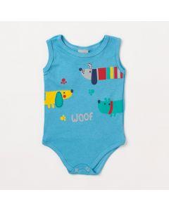 Body Bebê Masculino Azul Claro Cachorro
