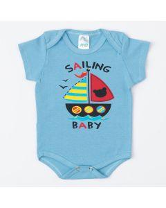 Body Azul para Bebê Menino Barco de Verão