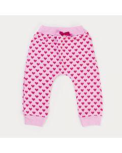 Calça de Moletom para Bebê Menina Rosa Coração