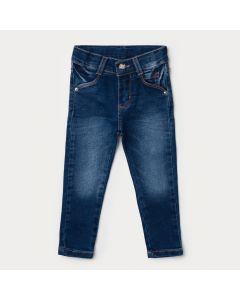 Calça Jeans Básica Infantil Feminina Azul Escuro com Bolso