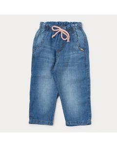 Calça Jeans para Criança Menina Azul Claro com Bolso