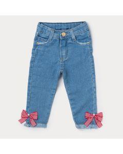 Calça Jeans Light Infantil Menina com Aplique de Laço Vermelho