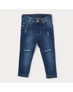 Calça Jeans Destroyed Infantil Menina Azul com Bolso