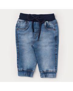 Calça Jeans para Bebê Menino com Bolso e Cós de Ribana