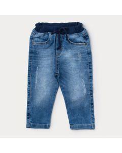Calça Jeans Estonado Infantil Menino Azul Claro com Cós de Ribana