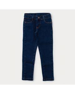 Calça Jeans Skinny Infantil Feminina Azul Escuro com Regulador Interno
