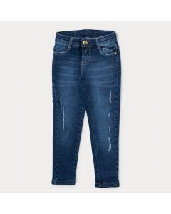 Calça Jeans Infantil Feminina Destroyed Azul com Bolso
